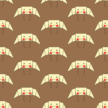 cheeks: Seamless pattern with funny croissant with red jam cheeks, small eyes, big smile, legs and hands isolated on brown background