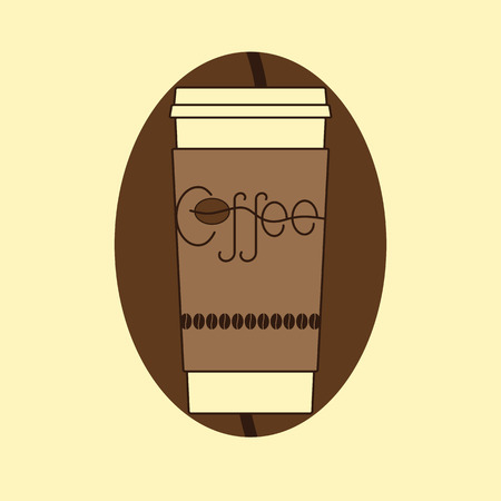 away travel: Contour illustration of take away coffee cup with cardboard holder decorated with lettering coffee and coffee beans with coffee bean as backdrop isolated on yellow background