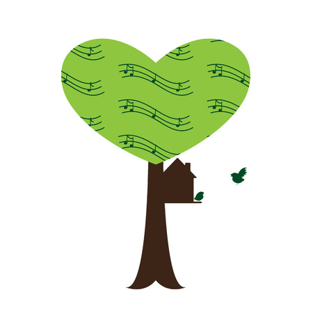 settle: Tree with stylized branches in the shape of heart with notes, bird house on it with bird family, one bird sitting on the threshold and another flying to house isolated on white background