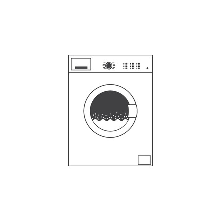front loading: White colored grey contoured front loading type washing machine with many buttons and water with foam inside it