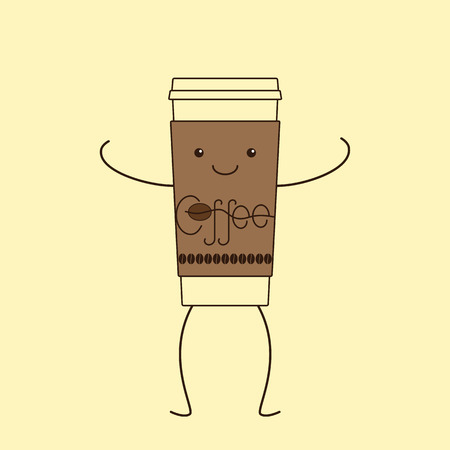 coffee beans isolated: Contour illustration of funny take away coffee cup with cardboard holder with eyes, smile, legs and hands, decorated with lettering coffee and coffee beans isolated on yellow background. Logo template, design element