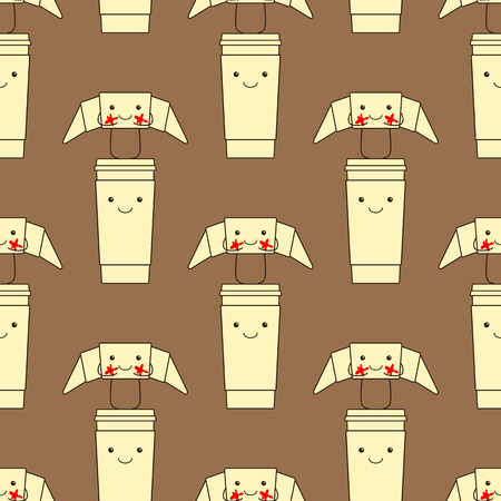 cheeks: Seamless pattern with funny croissant with red cheeks standing on happy take away coffee cup Illustration