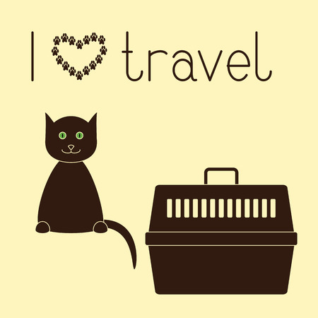 cat carrier: Cute contoured sitting cat, plastic pet carrier with handle and lettering I love travel isolated on yellow background. Concept illustration of pet carrying and traveling with pets