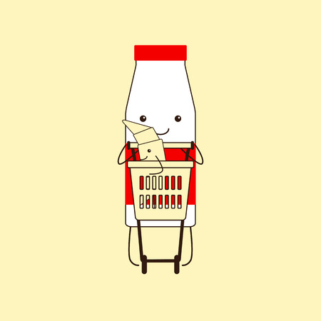 it is isolated: Funny milk bottle with red cap, small eyes, big smile, legs, hands and red sticker carrying plastic shopping cart with funny croissant standing inside it isolated on yellow background. Logo template, design element