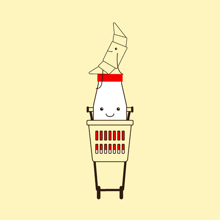 big smile: Cute croissant sitting on red cap of funny milk bottle with small eyes, big smile, legs, hands, red sticker in plastic shopping cart isolated on yellow background. Logo template, design element Illustration