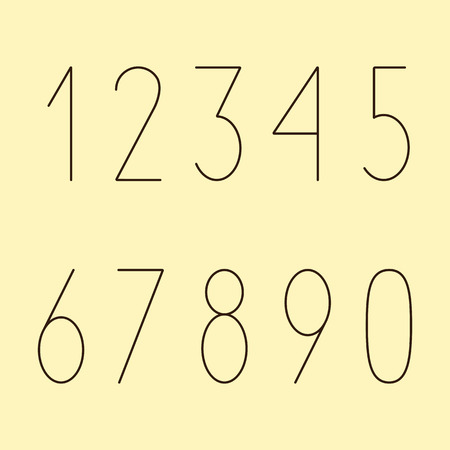 eights: Brown colored simple numbers in modern style set isolated on yellow background