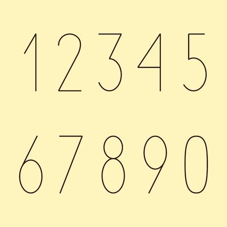 nulo: N�meros simples de color de Brown en conjunto estilo moderno aisladas sobre fondo amarillo