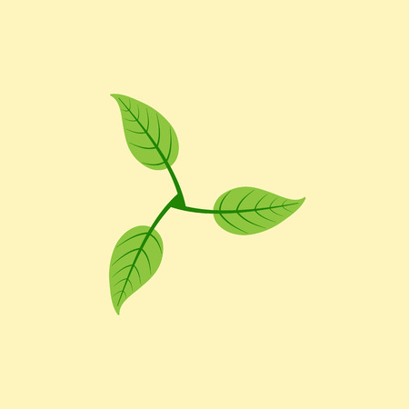 everlasting: Stylized illustration of three leaves in the shape of windmill isolated on yellow background. Eco concept. Logo template, design element Illustration