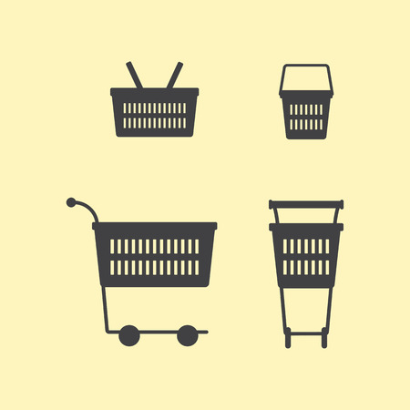 checkout line: Two sides of empty grey colored plastic shopping basket and two sides of empty grey colored plastic shopping cart isolated on yellow background. Vector set