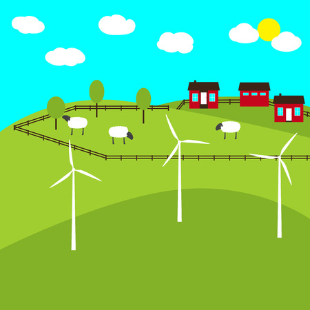 Eco-friendly landscape with hills, windmills, big farm with sheep feeding on the meadow, trees, cozy houses and stable enclosed with wooden fence Illustration