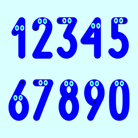 seventh: Navy colored numbers with big blue eyes