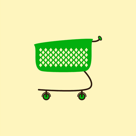 checkout line: Empty green colored plastic shopping cart