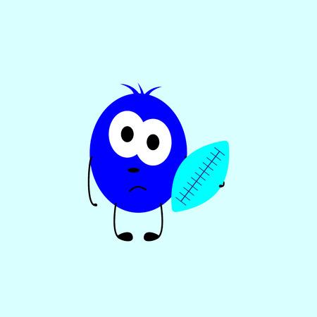 Little sad navy colored monster with big oval eyes Ilustração