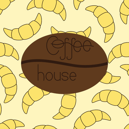 croissants: Pattern with croissants and lettering coffee house on coffee bean