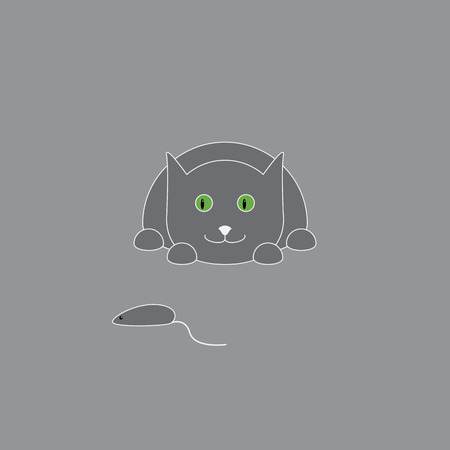 grey cat: Cheerful lying grey colored cat with light grey contour follows small mouse