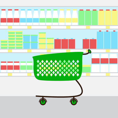 food store: Green colored plastic shopping cart and supermarket refrigerator shelves behind it