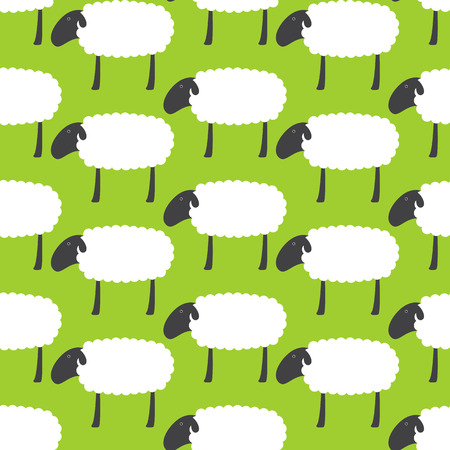 chineese: Seamless pattern with repeating cute sheep with dark grey head, ear, eye, legs and white body isolated on bright green background