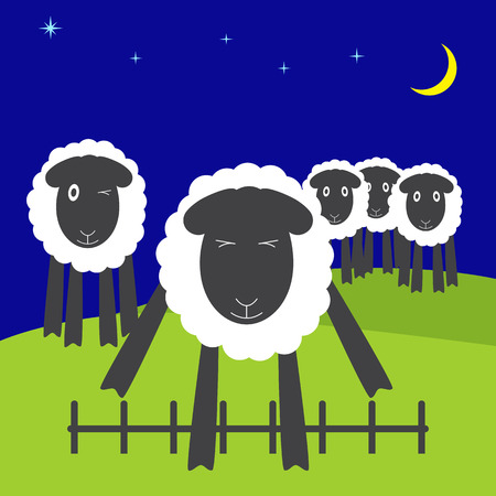 symbol vigilance: One cute sheep jumping over low fence with eyes screwed up and four sheep standing on hills