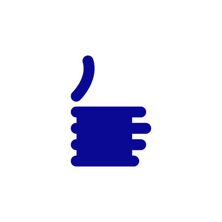 okey: Stylized navy blue colored like symbol isolated on white background
