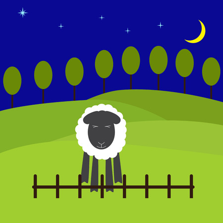 symbol vigilance: One cute sheep standing near the low fence with eyes screwed up and fears to jump