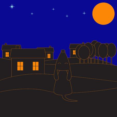accidentado: Hilly paisaje rural en la noche iluminada por la luna con el perro aullando solitario