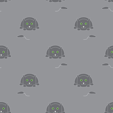 grey pattern: Seamless pattern with cute lying grey colored cat with light grey contour Illustration