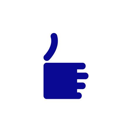 okey: Stylized navy blue colored like icon isolated on white background