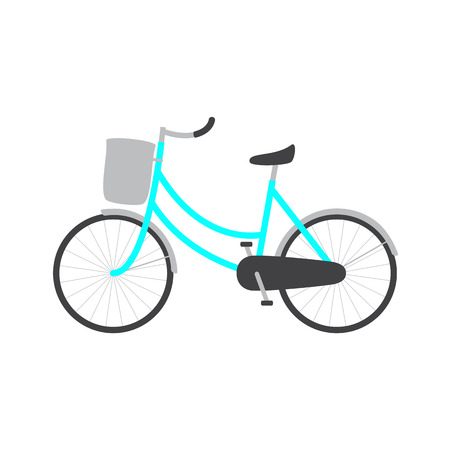 handlebar: Bicycle with blue colored female frame, light grey pannier on handlebar, big dark grey saddle, big wheels with mudguards. icon template, design element