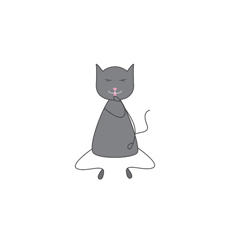 grey cat: Cute grey colored cat with dark grey outline sitting with closed eyes and licking its paw with pink tongue. icon template, design element