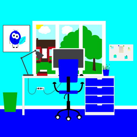 big bin: Modern teenager's or child's workplace with big table and drawers, chair, lamp, monitor, mouse, books, poster with funny monster, board, notes, bin, bright celadon colored walls and  big window with rural landscape in it. Flat style illustration Illustration
