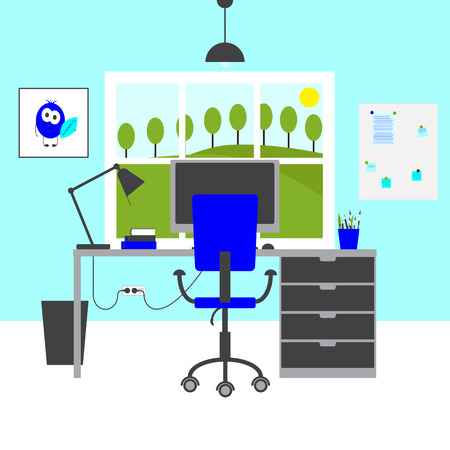 brash: Modern workplace. Big table with drawers, chair, lamp, monitor, mouse, books, poster with funny monster, magnet board with notes, bin, blue colored walls and big window with rural landscape in it. Flat style illustration