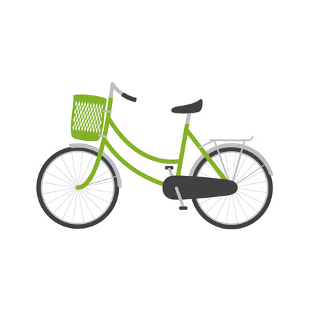 handlebar: Bike with green colored female frame with pannier on handlebar, rear rack, big dark grey saddle, big wheels with mudguards. Logo template, design element Illustration