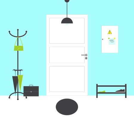 shelving: Hall interior with white paneled door with grey handle, oval mat, blue walls and white floor, grey lamp, hanger with bag, umbrellas, briefcase on floor, shelving with ballerina shoes, gumshoes, switch box with notes on magnets