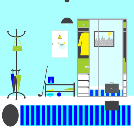 interior shelving: Hall interior. Hanger with bag, umbrellas, shelving with ballerina shoe, gumshoe, rubber boots, balls and golf club, switch box, big closet with drawers, boxes, coat and mirror doors reflecting case on carpet and painting on wall