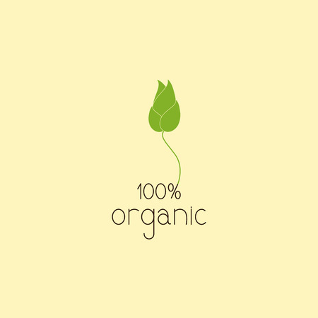 flaxen: Green colored sprout with flaxen outline grows on brown lettering 100% organic. Logo template, design element Illustration