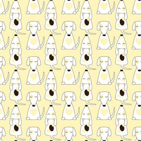 jack russel: Seamless pattern with repeating jack russel terrier with closed eyes in cartoon style isolated on yellow background