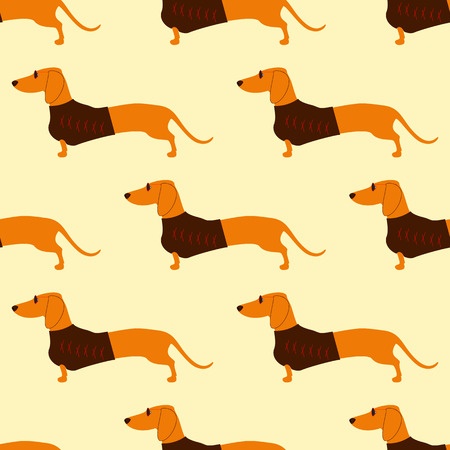 waistcoat: Seamless pattern with repeating foxy colored dachshund in glasses with dark lenses and red frame and brown waistcoat decorated with red pattern isolated on flaxen background Illustration