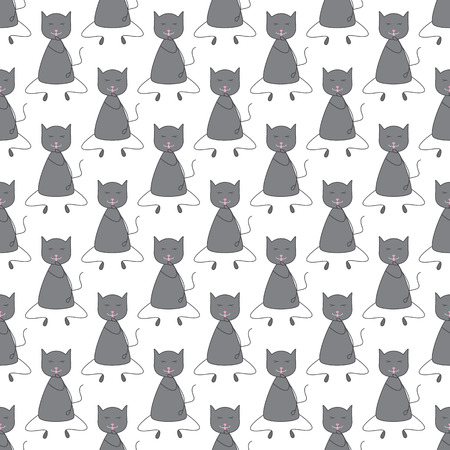 grey cat: Seamless pattern with repeating cute grey colored cat with dark grey outline sitting with closed eyes and licking its paw with pink tongue