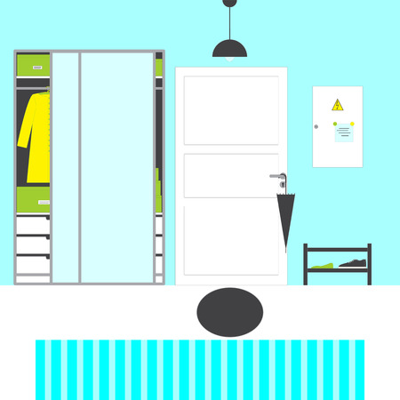blue grey coat: Hall interior with paneled door with grey handle and umbrella on it, oval mat, blue walls and white floor with blue stripped carpet, grey lamp, big closet with mirror doors and drawers, boxes, coat, shelving with shoes, switch box with notes on magnets