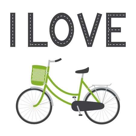i nobody: Bike with green colored female frame, green pannier on handlebar, rear rack, big dark grey saddle, big wheels with mudguards and bike lane in the shape of I love lettering above it isolated on white background Illustration