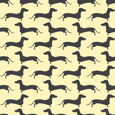 Seamless pattern with repeating lines of grey colored silhouette of standing dachshund situated opposite one another isolated on light yellow background Illustration