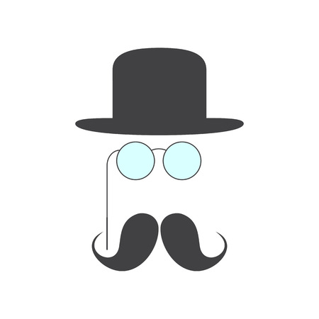 derby hat: Grey mustache, pince-nez and grey colored bowler hat over it isolated on white background. Small set of retro style design elements Illustration