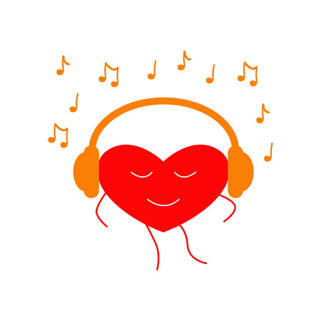 it is isolated: Red colored dancing heart with closed eyes and orange headphones on it and many notes around it isolated on white background. Music fan concept.