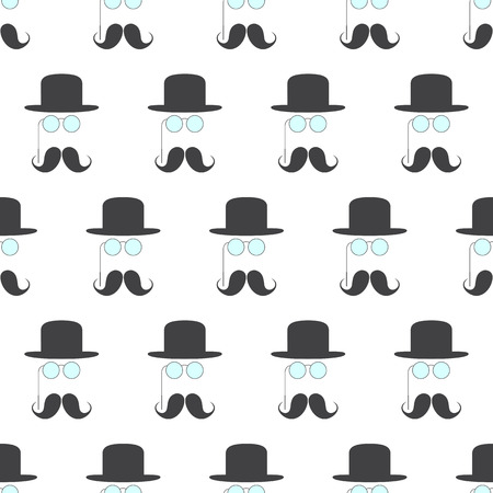 derby hats: Seamless pattern with repeating grey mustache, pince-nez and grey colored bowler hat over it situated chequerwise and isolated on white background