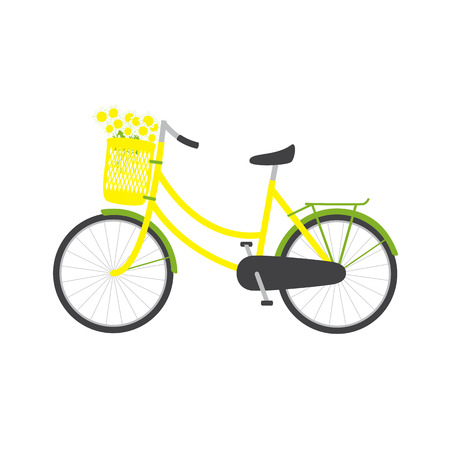 freewheel: Bicycle with yellow colored female frame, yellow pannier on handlebar with big bouquet of chamomiles in it, big dark grey saddle, big wheels with green mudguards and rear rack isolated on white background