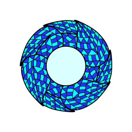 it is isolated: Blue and navy colored mosaic leaves in the shape of circle with black outline and light blue colored round center with place for text inside it isolated on white background.  Illustration