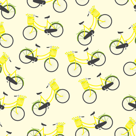 Seamless pattern with bicycles with yellow colored female frame, yellow pannier on handlebar with big bouquet of chamomiles in it, big dark grey saddle, big wheels with green mudguards and rear rack isolated on light yellow background