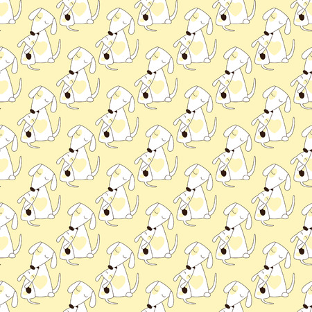 jack russel: Seamless background with two repeating cute stylized Jack Russel terriers mother and child sitting close to another with isolated on light yellow background