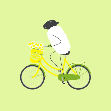 Cute sheep riding bicycle with yellow colored female frame, big bouquet of chamomiles in pannier on handlebar, big dark grey saddle, big wheels with green mudguards and rear rack isolated on light green background