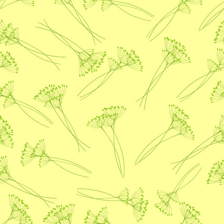 an inflorescence: Seamless pattern with fennel inflorescence isolated on yellow background Illustration
